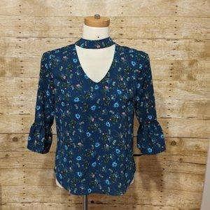 Meraki Blue Floral Blouse with Choker Collar